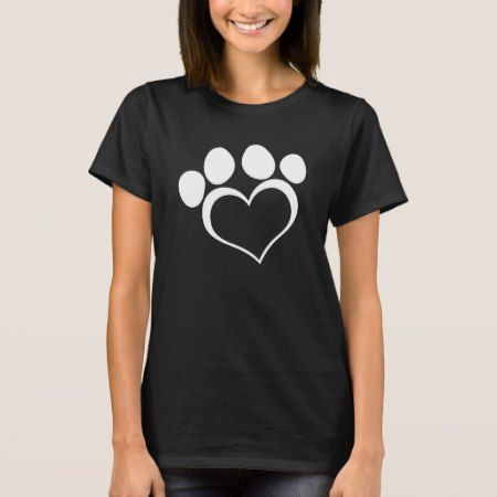 Black and White Heart Paw T-Shirt - tap to personalize and get yours