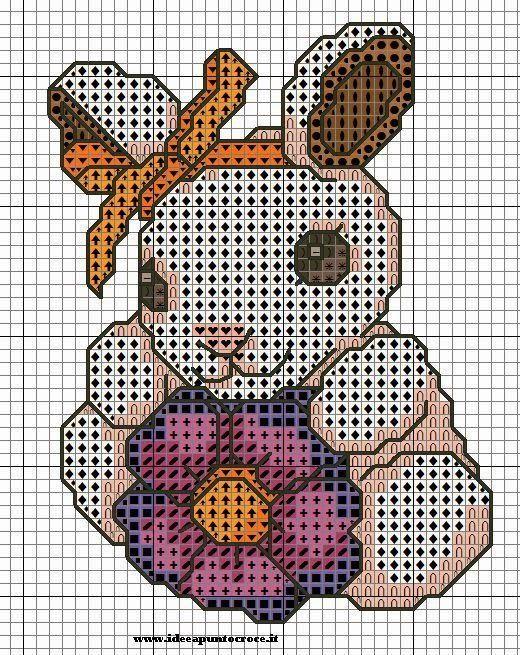 schema punto croce coniglio thun | Hobby lavori femminili - ricamo - uncinetto - maglia