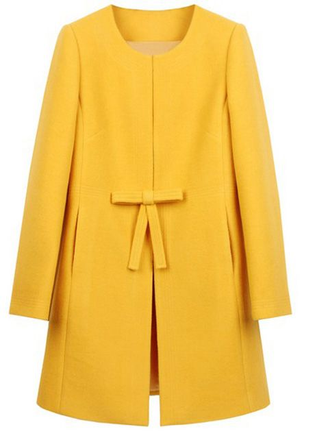 Catching Yellow Woolen Round Neck Loose Coats with Bow   martofchina.com