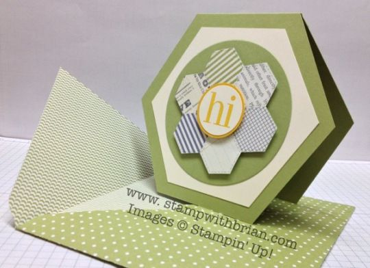 handmade card ... hexagon shape with a hexagon quiit flower design ... great paper engineering by Brian ... Stampin' Up!