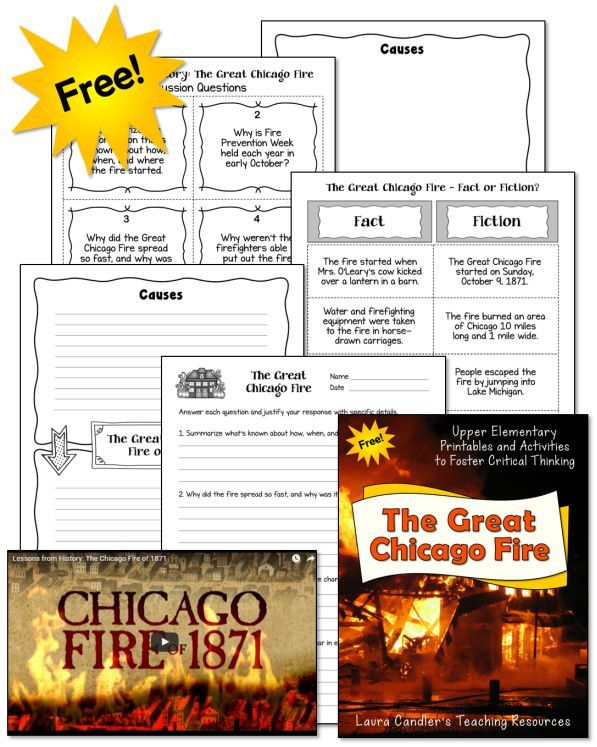 Love these free upper elementary resources for Fire Prevention Week! Teaching kids about the great Chicago fire is a super way to integrate fire safety and prevention lessons into your reading and social studies curriculums!
