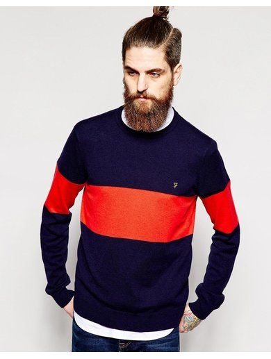 Farah Jumper with Chest Band - Blue