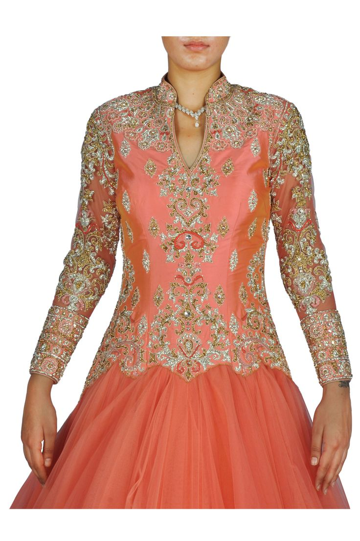 Coral Orange Gown with Scalloped Embellished Border