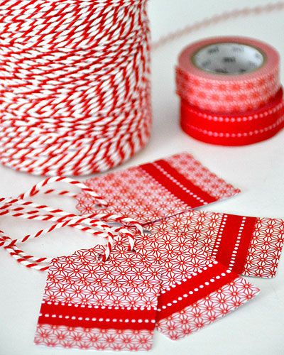 Washi tape and baker twine Christmas Tags