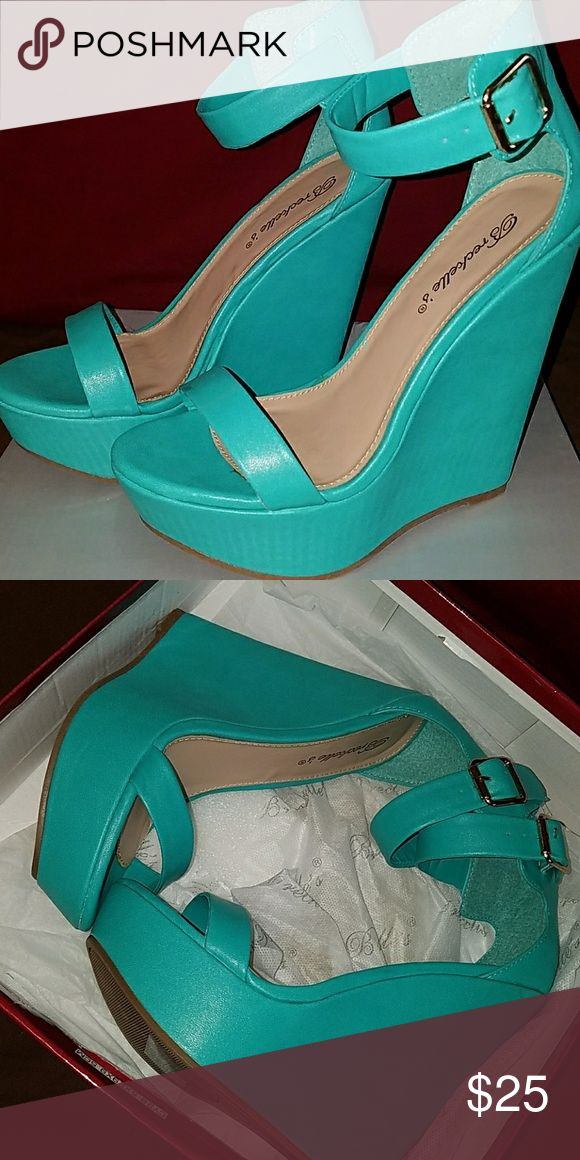 Turquoise wedge heels💙 Turquoise wedge heels Brand new, never worn. Heel height 5.5inch. Breckelles Shoes Wedges