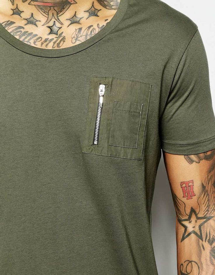Image 3 of ASOS Super Longline T-Shirt With Scoop Neck With Fishtail Hem And Zip Chest Pocket