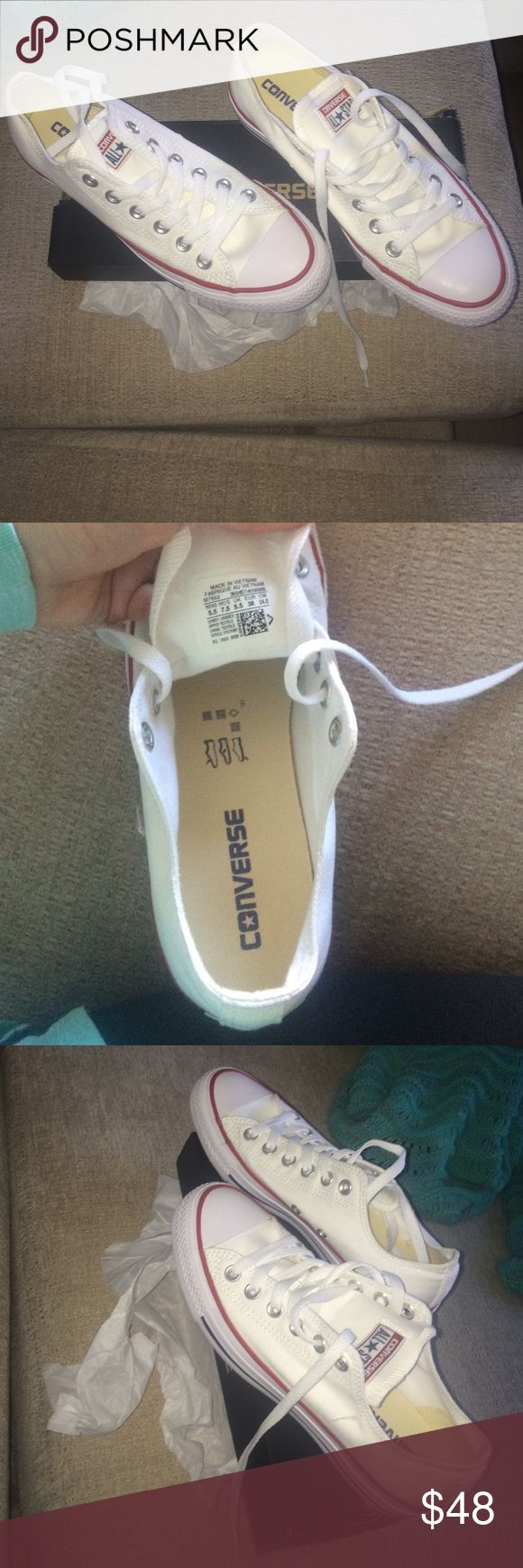 White low top converse ! Never worn, woman's size 7.5 converse Converse Shoes Sneakers