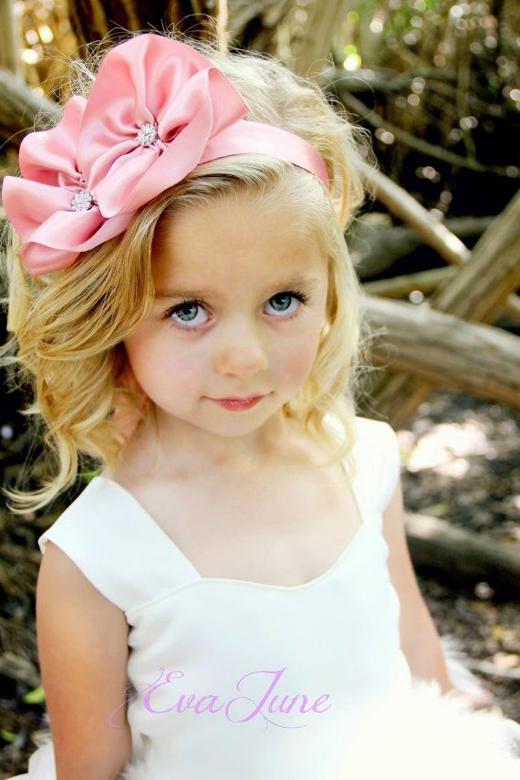 Pink Flower Girl Headband Flower Girl Sash Ethereal By