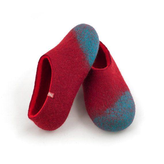 Handmade felted wool slippers for women merino felt by Wooppers