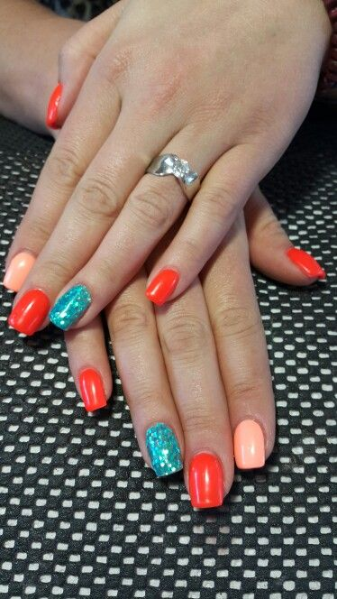 Orange, tropical tease and turquoise glitter gel
