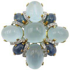 Seaman Schepps Aquamarine Sapphire Diamond Brooch