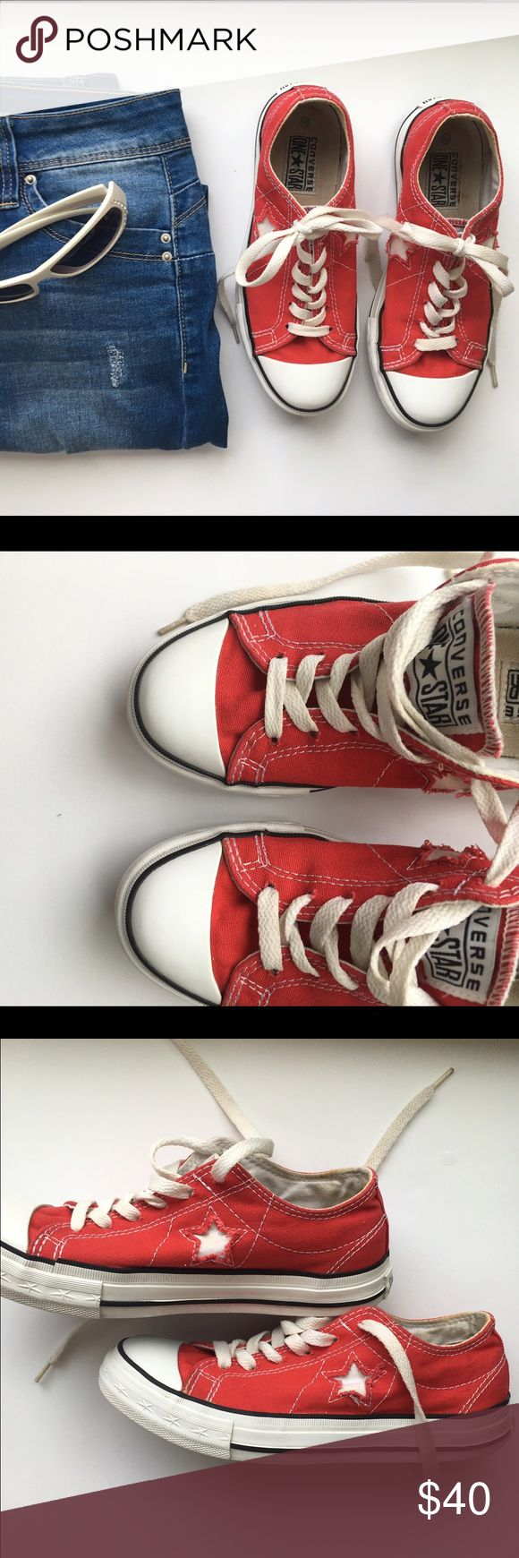 Women's Converse One Star lace up shoes Red Converse All Star lace up shoes. White stitching and cut our stars on shoes. Super cute! In good condition but the inside has some staining. Won't be scene though since it's the bottom of the inside. Soles and outside look new! Converse One Star Shoes