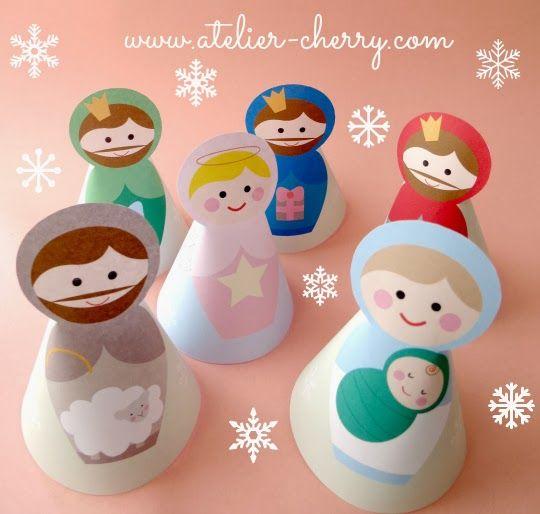 Presépio em papel, para imprimir - GRÁTIS! FREE printable nativity play | ATELIER CHERRY: Presépio de papel