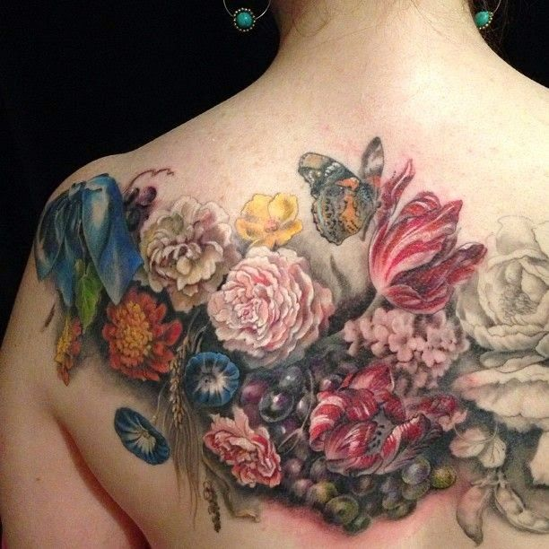 1000 ideas about flower back tattoos on pinterest back for Chest mural tattoos
