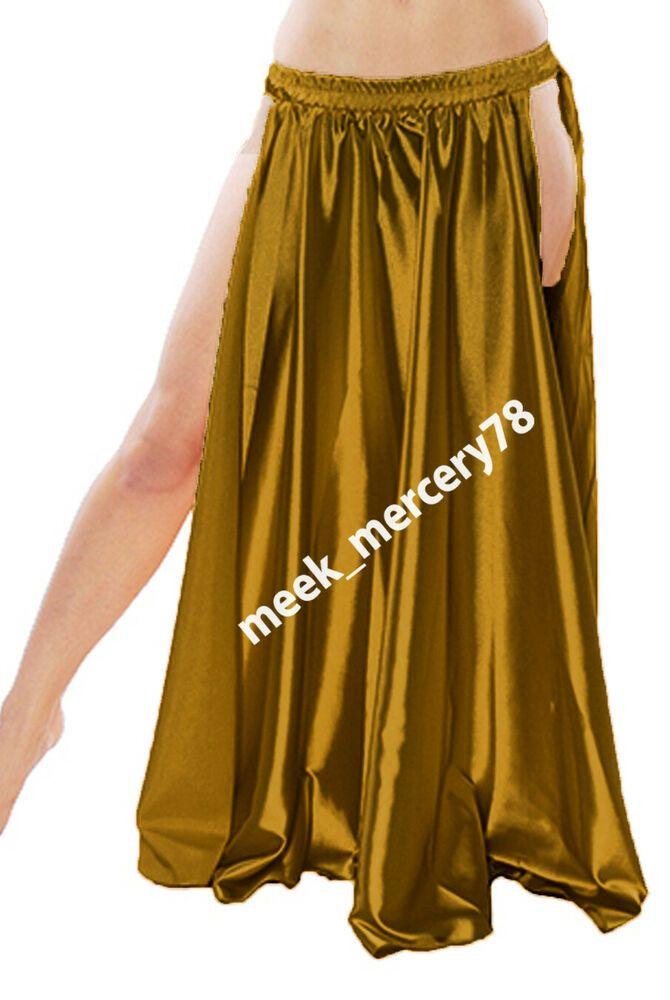 Satin Circle Skirt Belly Dance Festival Costume Tribal 2 Sides Slit Satin Skirt