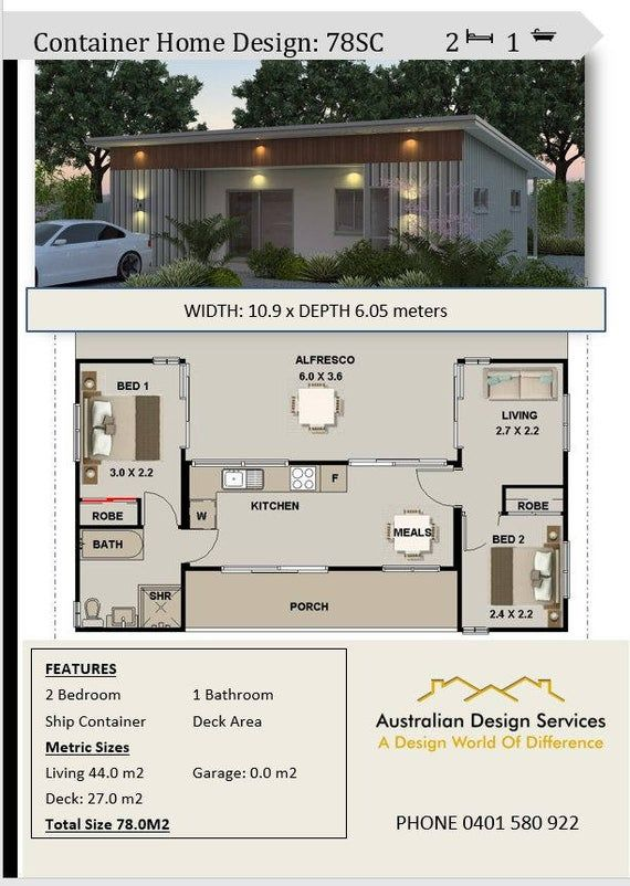 Shipping Container Concept Blueprint Plans For Sale 3 Containers Combined Floor Plans 840sq Foot 78m2 2 Bed With Images Building A Container Home Shipping Container House Plans Container House