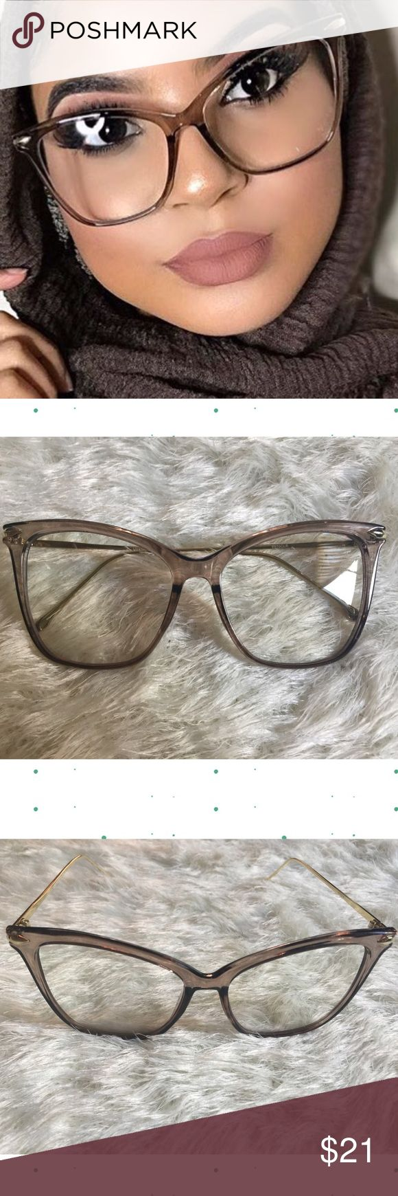 "57mm Taupe Framed Cat Eye Eyeglasses w/ Clear Lens New - Price firm 57mm Taupe Framed Cat Eye Eyeglasses w/ Clear Lens. Non Prescription Clear Lens  ​* Contemporary Cat Eye Silhouette ​* Glossy Metal Temples  ​* Polycarbonate Clear Lens​ * Acetate Hand Polished Frame  57mm(W) 49mm(H) 18mm(BR) 147mm Total Frame. Microfiber eyeglass Bag included (color will vary).                                ❌Trades ❌Holds ❌ Lowball Offers ✅ Use the ""ADD TO BUNDLE"" link to get 15% off discount on 2+ items…"
