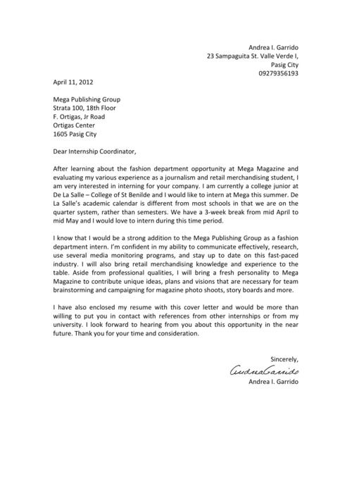 letter to apply for an internship