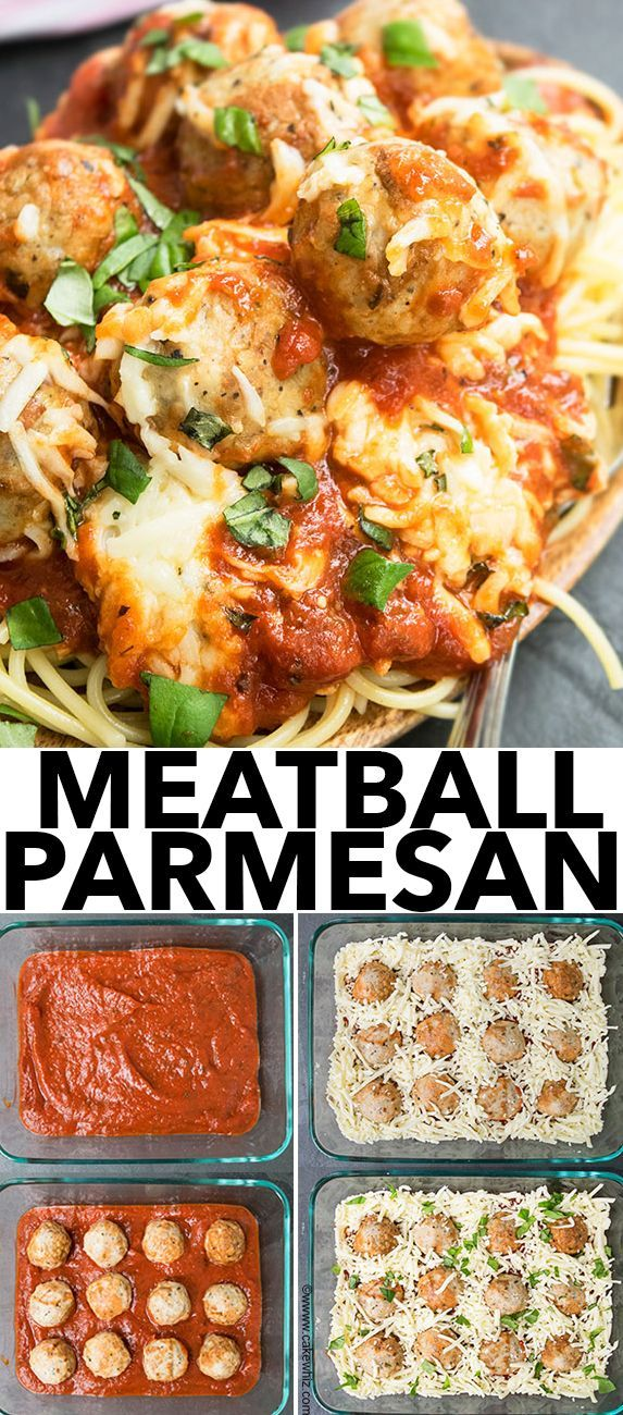 Quick and easy MEATBALL PARMESAN bake recipe is a quick 30 minute weeknight dinner. This meatball parmesan (low carb recipe) is best served with pasta. {Ad} From cakewhiz.com #meatballs #dinner #recipes