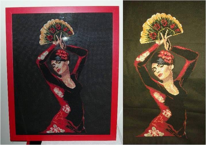 Sevillana flamenca en punto de cruz
