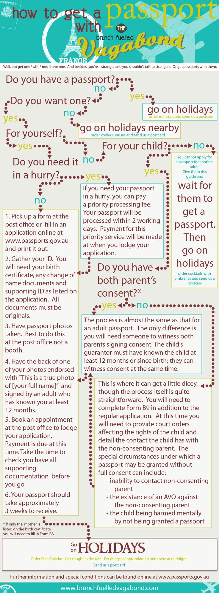 Need a passport but unsure where to start?  Come and get a passport with The Brunch Fuelled Vagabond.  Well not *with*me, because you're a stranger and I'm not supposed to talk to strangers.  Visit www.brunchfuelledvagabond.com to find out how.