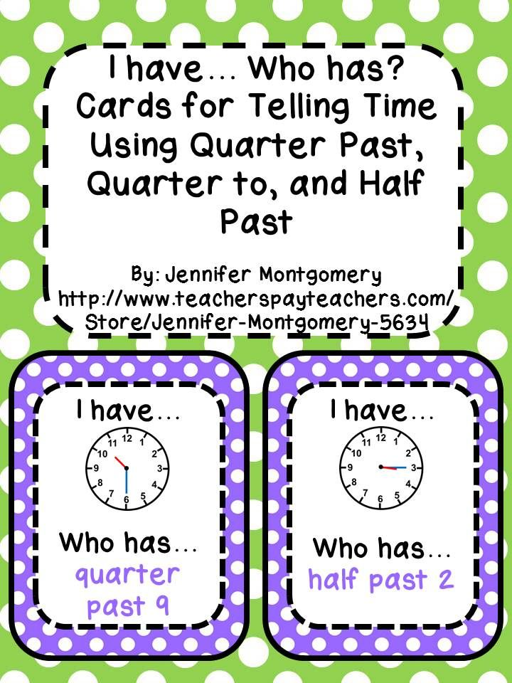 """""""I have... Who has?"""" set for telling time using the ..."""
