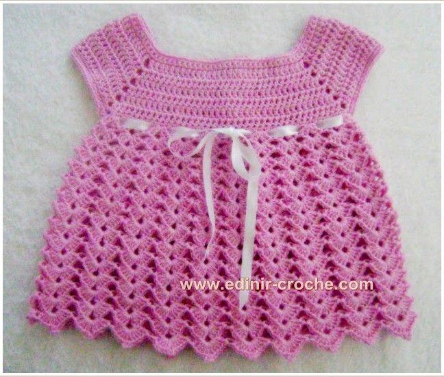Sukienka  http://www.edinir-croche.com/2013/09/vestidinho-rosa-em-croche-para-o-bebe.html