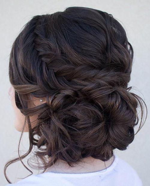 Curly Side Bun + Fishtail Braid: