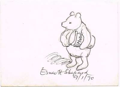 Original Winnie-the-Pooh illustration,   signed by creator E H Shepard
