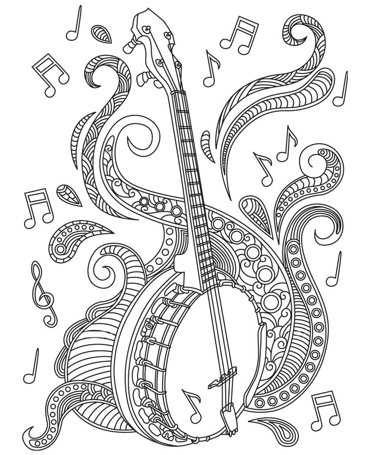 Mandolin Desing Coloring Pages