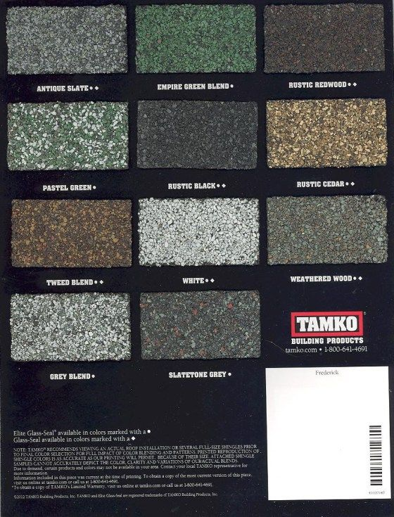 Tamko glass shingle colors tamko roofing products for Tamko shingles
