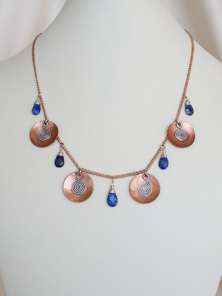 necklace lapis lazuli teardrops copper discs with sterling silver spiral charms handcrafted artisan jewelry unique one of a kind style