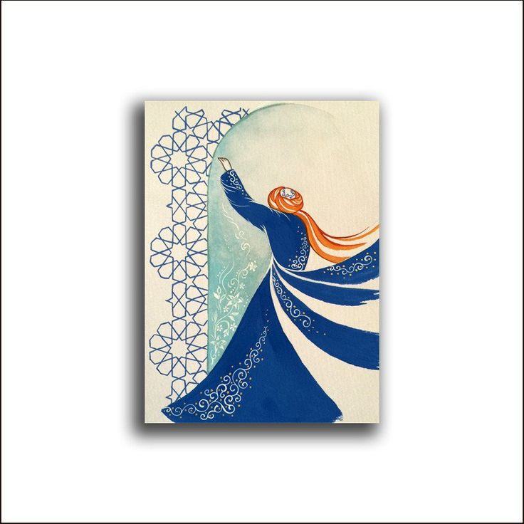 Original Painting Whirling Dervish Sufi Dance Rumi Miniature - AESMPS0026