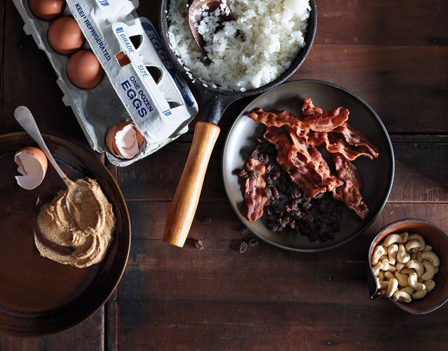 Homemade energy bars from Outside Magazine, made with cashews, nut butter, eggs, rice - and bacon!