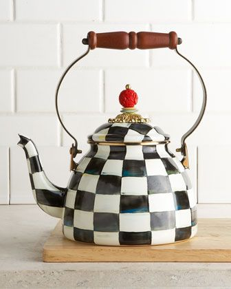 Two-Quart Courtly Check Tea Kettle by MacKenzie-Childs at Neiman Marcus.