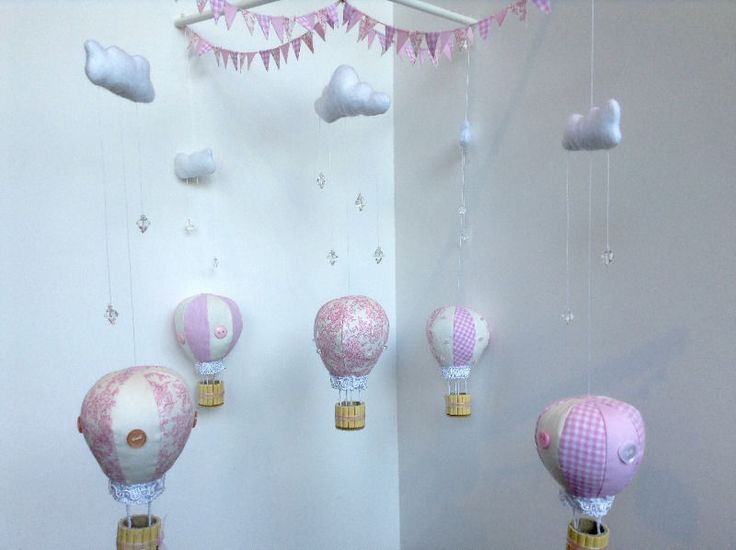Hot Air Balloon mobiles made to order.Five beautifully decorated cotton…
