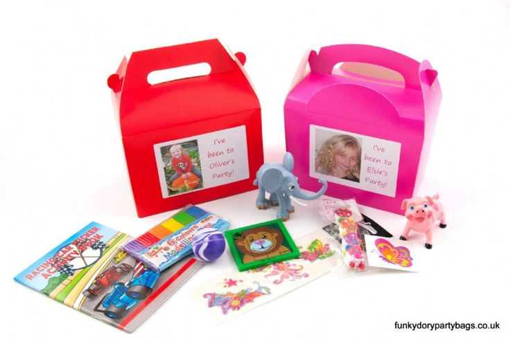Photo personalised party boxes are perfect for use as party lunch boxes and as a great alternative to a party bag Also very popular for hen parties