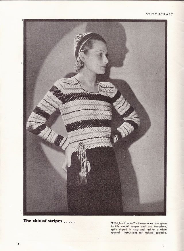 1930s Brighter London crochet jumper pattern, crochet stripes