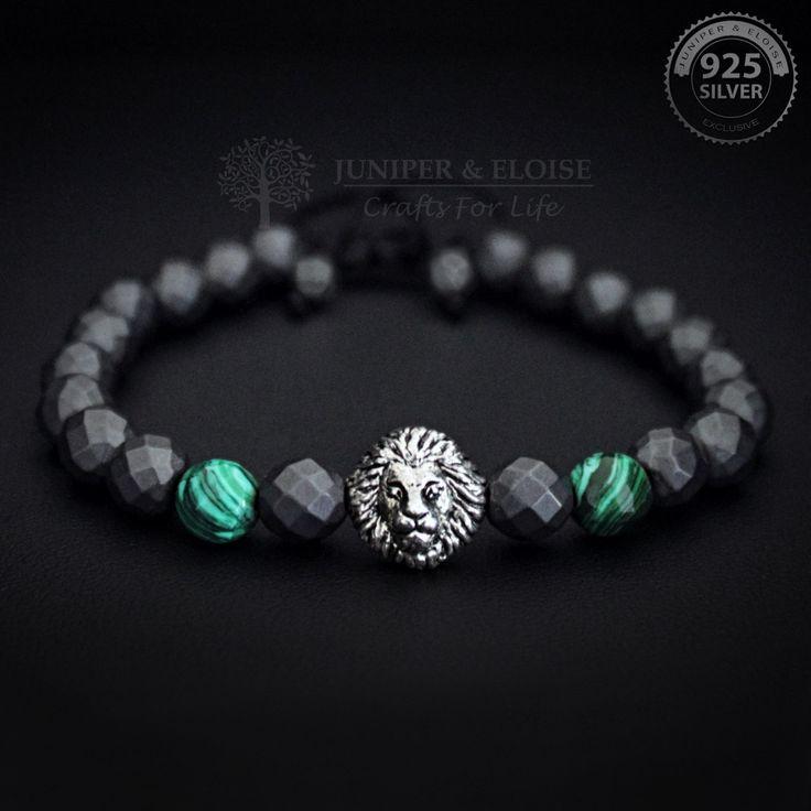 Lion Bracelet, Mens Bracelet, Green Malachite Gemstone Bracelet, 925 Silver Lion charm, Jewelry For Men and Women, Valentines Day Gift by JuniperandEloise on Etsy