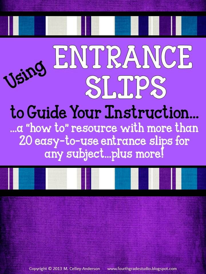 """If you are like me, you know that formative assessment can make the biggest difference in student learning.  This resource talks about my use of """"entrance"""" slips and gives more than 20 different slips PLUS suggestions for use for each--and even more assessment """"help""""!  Ready to use for any subject, low ink, and geared for grades 2-6.  $5"""