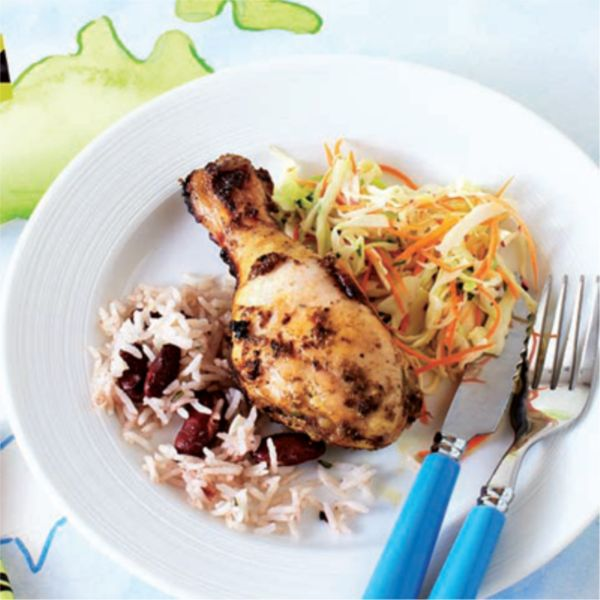 This easy make-at-home version of Jamaican Jerk Chicken is a great way to introduce kids to mild spices. Serve with rice and coleslaw.