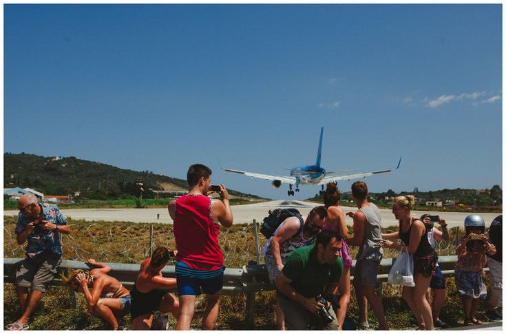 Please keep away from aircraft blast - at Skiathos island