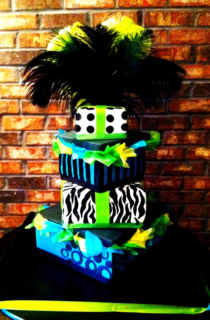 Sweet 16 birthday cake with blue and green accents