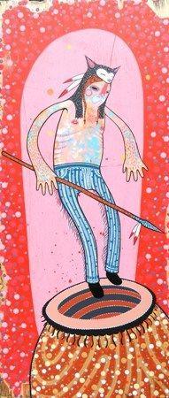 Dan Withey   Tribe- 2013   Acrylic on board   30 x 70cm