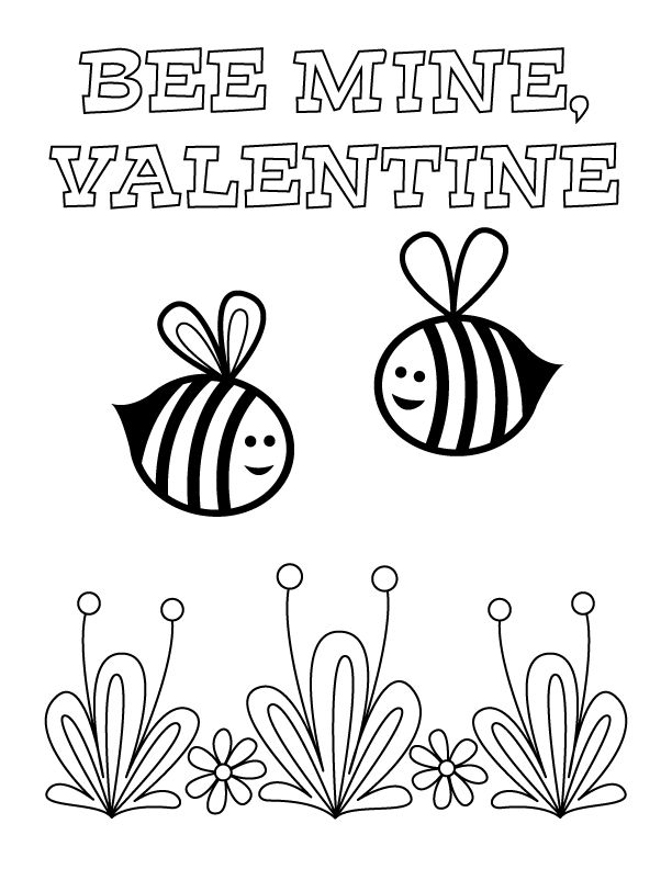 Bee Mine Coloring Page Valentine