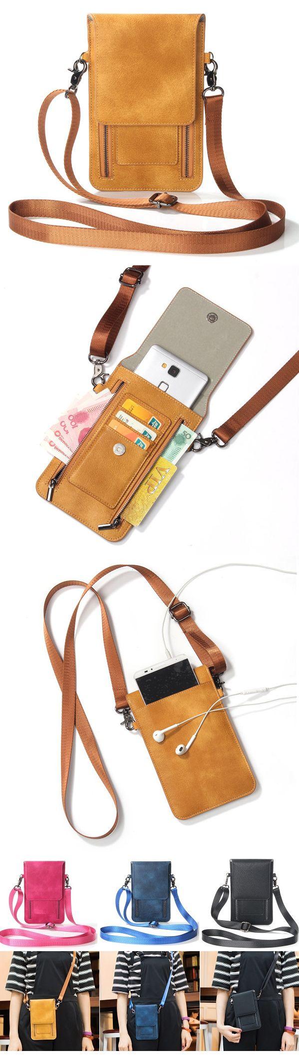 US$14.78 Vintage PU Leather Card Holder 5.5inch Phone Bag Shoulder Bag Crossbody Bags