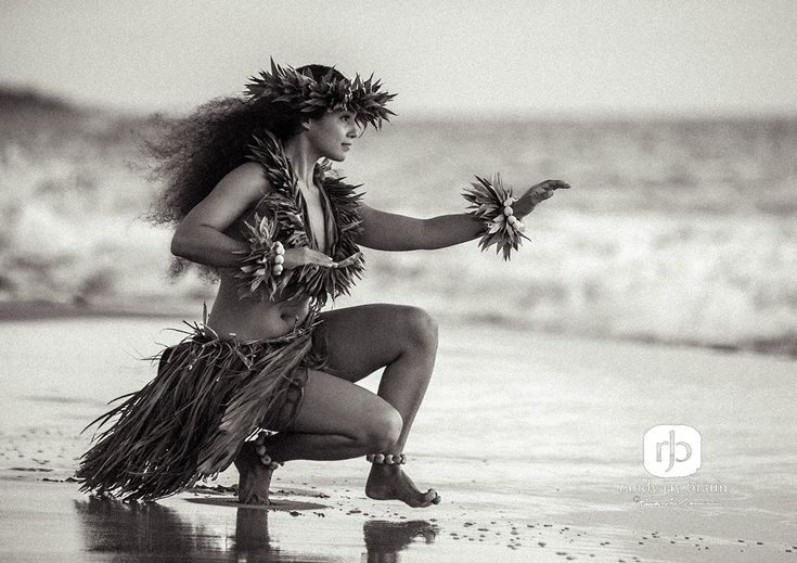 Kahiko hula dancer by the sea