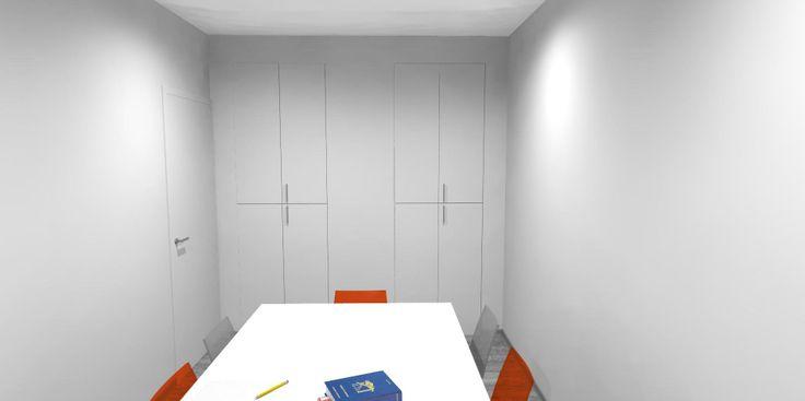 Sala riunioni. Tavolo in laminato bianco 280 x 110 x 72 Armadiature per archiviazione con ripiani interni e serrature.