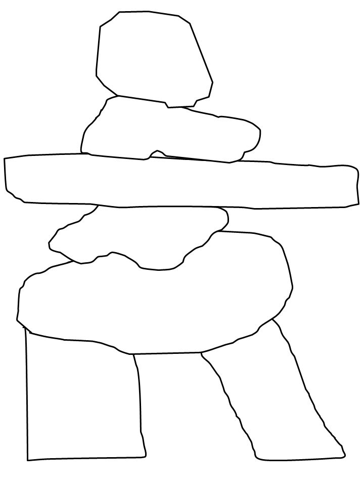 Simple coloring page template of Inuit Inuksuk for kids