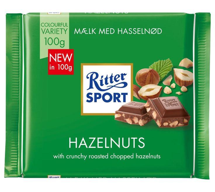 Ritter Sport Milk Chocolate with Chopped Hazelnuts, 100g
